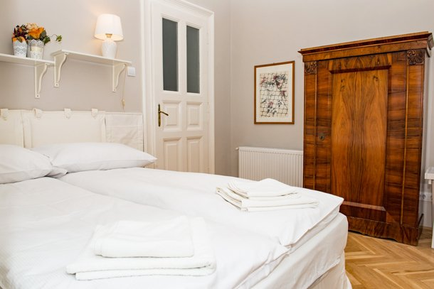 West End City Center Apartment Budapest - white double bed 2