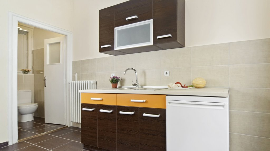 City center apartment Belgrade - kitchen and toilet