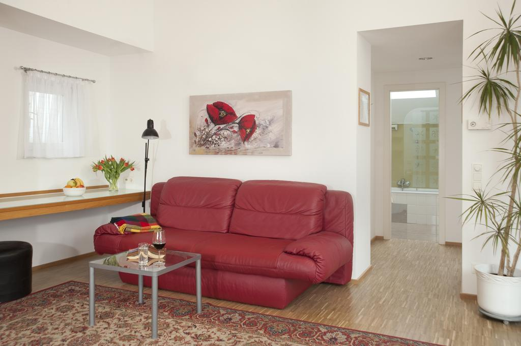 One-Bedroom Ferchergasse Apartment with Terrace - red sofa